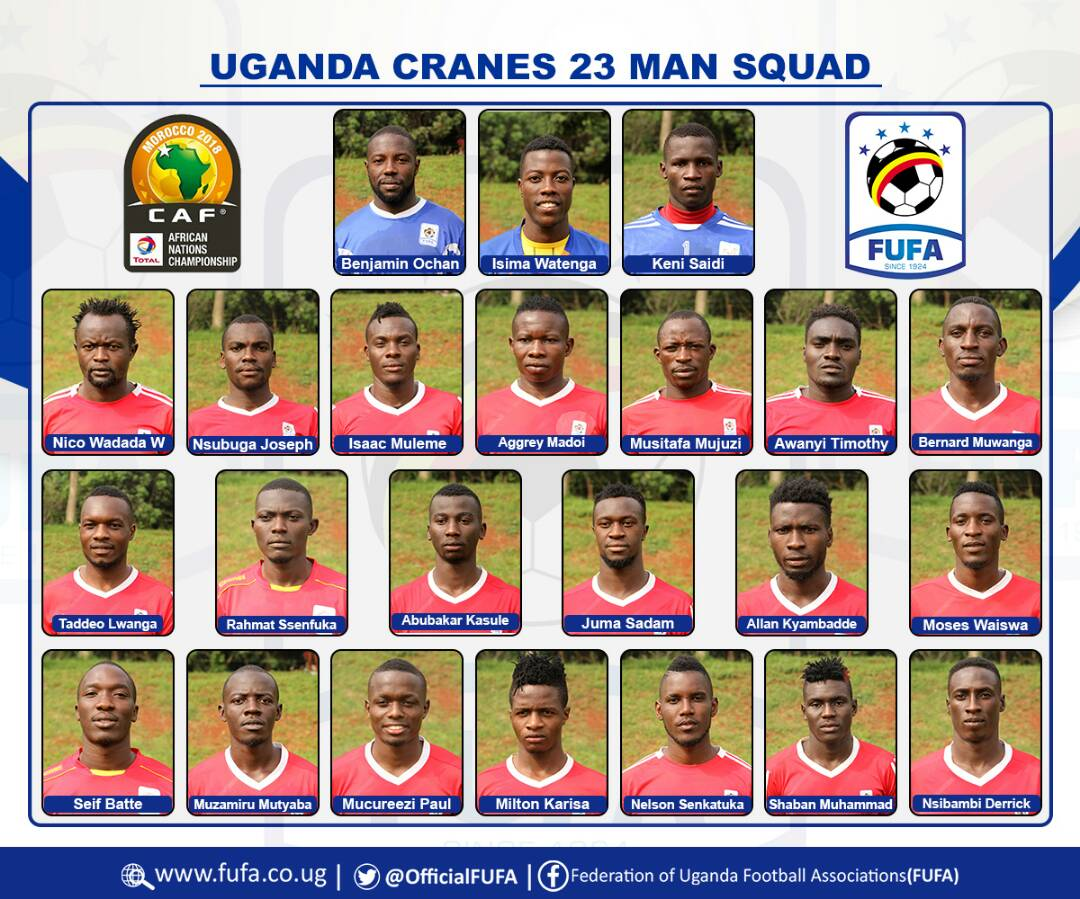 Final 23-Man Cranes Squad that will play in CHAN