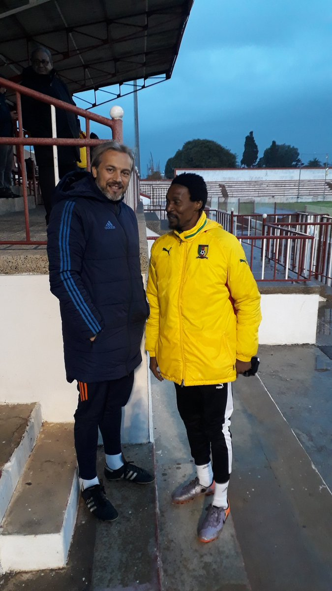 Cranes tactician, Sebastien Desabre charting with Congo Brazzaville coach